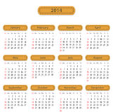 2014 English calendar. English calendar for 2014 year. Vector illustration royalty free illustration