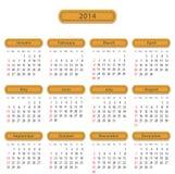 2014 English calendar Stock Image