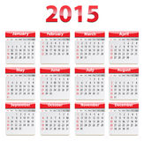 2015 English calendar. Calendar for 2015 year in English. Vector illustration Stock Illustration