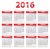 2016 English calendar. Calendar for 2016 year in English. Vector illustration Stock Image