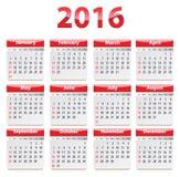 2016 English calendar Stock Image
