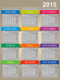 English calendar for year 2015 Royalty Free Stock Images