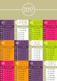 English Calendar 2017. English calendar for year 2017, week starts on Sunday Royalty Free Stock Photos