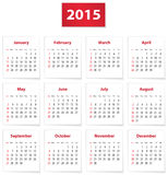 2015 English calendar. Calendar for 2015 year on white papers in English. Vector illustration Vector Illustration