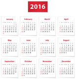 2016 English calendar. Calendar for 2016 year on white papers in English. Vector illustration Stock Images