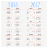 English calendar for years 2016 and 2017, week starts on Monday Royalty Free Stock Image