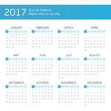 English calendar for 2017 years. Calendar for 2017 on white background. Week starts from sunday Royalty Free Stock Photos