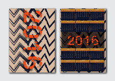 English calendar 2016. Zig zag ink stripes texture pattern Stock Photos