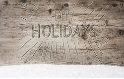 Calligraphy Happy Holidays, Retro Wooden Background, Snow Royalty Free Stock Image