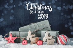 Christmas Decoration, Calligraphy Merry Christmas And A Happy New 2019 stock photo