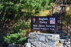 English Camp San Juan Island Park. Sign in front of English Camp San Juan Island National Historical Park royalty free stock photography