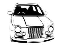 English Car. Vector black and white image of english car on white background Royalty Free Stock Image