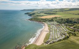 English caravan park and countryside Stock Image
