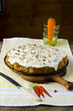 English carrot cake with nuts Royalty Free Stock Photos