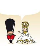 English cartoon couple social bubble Stock Image