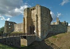 English castle. Warkworth castle, Northumberland Stock Image