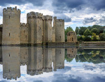 English Castle surrounded by a moat Stock Photos