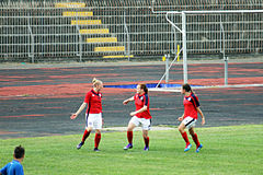 English celebration goal. British women are celebrating a gol in the deaf worlc cup football match great britain vs poland played at eboli in italy stock image
