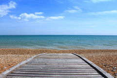 English Channel beach boardwalk Royalty Free Stock Image