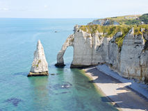 English channel coastline of Etretat. Cote d'albatre, France Royalty Free Stock Image