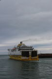 English Channel ferry exiting the port at Dieppe, France Stock Image