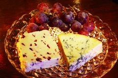 English cheeses with grapes. Stock Photo