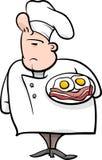 English chef cartoon illustration. Cartoon Illustration of Funny English Chef or Cook with Bacon and Eggs Stock Photography