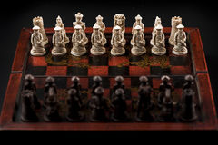 English chess set with chinese set pieces Royalty Free Stock Photography