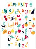 English children`s alphabet with cartoon pictures on the theme of fruit, vegetables, animals. royalty free illustration
