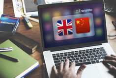 English Chinese Languages Translation Application Concept stock photos