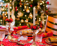 English Christmas table with crackers Royalty Free Stock Image