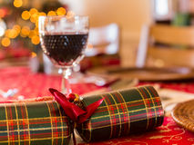 English Christmas table with crackers Stock Photo