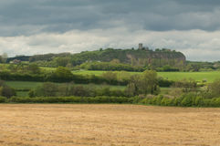 English church on the top of a hill overlooking the surrounding countryside Royalty Free Stock Photos