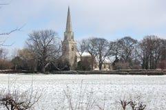 English Church in Winter. St mary's Church Brayton, Yorkshire. Winter scene early morning Stock Photos