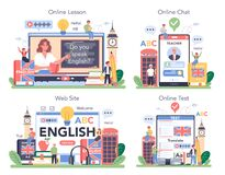 Free English Class Online Service Or Platform Set. Study Foreign Languages Stock Images - 196295474