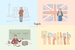 English classes, Great Britain sightseeing tour, excursion for children, students exchange program banner. Language online course, e-learning concept cartoon royalty free illustration