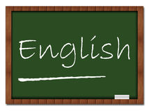 English - Classroom Board. Image with English text on classroom board stock illustration