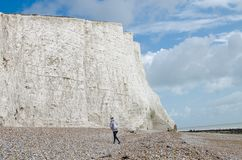 English cliffs of seven sisters stock photos