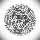 English. Cloud words about the English language. Learning, speaking, students. Many words about London. Tangle of the words of different sizes gray on a light Stock Photography