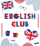 English Club. Trendy geometric font. Text, British flag, heart, cups, glasses, bow tie and geometric elements. Isolated on a white background. Memphis style of royalty free illustration