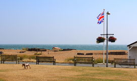 English coast Union Jack flag Kent United Kingdom. View of Deal beach on windy summer day,beach huts,promenade dog playing on the green and waving Union Jack Stock Photos