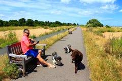 English coastal path holidaymakers Kent England Stock Image