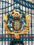 English coat of arms. Gate of Bukingham palace stock image