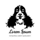 English cocker spaniel black dog logo Stock Image