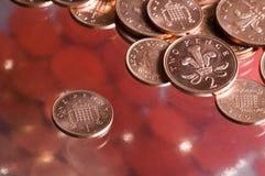 English coins. Pence penny Stock Photos