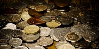 English coins. A scattering of English coins stock photo
