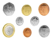 English Coins Isolated. Set of UK coins isolated on white background royalty free stock photos