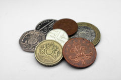 English Coins, UK. Random pile of used UK coins stock images