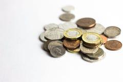 Mixed coins of british money royalty free stock photos
