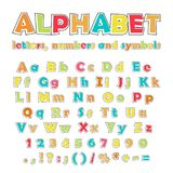 English color alphabet, numbers and symbols. Cartoon colorful alphabet on white background, uppercase and lowercase letters, numbers and symbols Stock Images